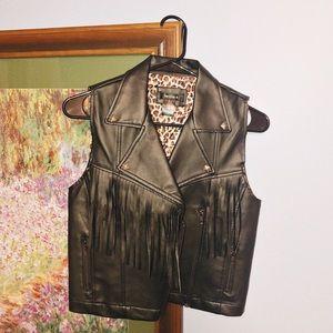 Faux leather vest with fringe detail
